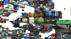 Video walls 3d montage Stock Footage