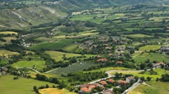 HD Aerial View of San Marino, Beautiful Landscape, Fields, Hills, Green Nature Stock Footage