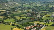 Stock Video Footage of HD Aerial View of San Marino, Beautiful Landscape, Fields, Hills, Green Nature
