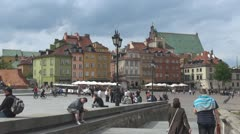 Castle Square, Old Town in Warsaw, Poland Stock Footage