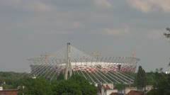 Aerial view of de new stadium for UEFA EURO 2012 in Warsaw, Poland, Europe - stock footage