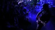 Stock Video Footage of Electric Guitarist Strumming & Crowd Audience Cheering HD