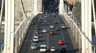 Stock Video Footage of HD Aerial View of Budapest, Danube River, Elizabeth Bridge, Car Traffic, Boat