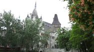 Stock Video Footage of Hungarian Castle Building, Street View of Budapest, Fortress in Park