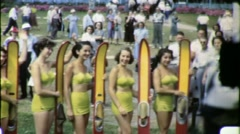 GIRLS Bathing Suits Contest Surfers Boards 1950s Vintage Film Home Movie 1567 Stock Footage