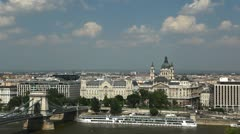 HD Aerial View of Budapest, Danube River, Szechenyi Chain Bridge, Parliament Stock Footage