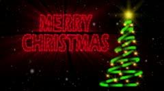 Merry Christmas Neon Loop Stock Footage