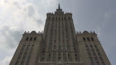 The Palace of Culture and Science, Warsaw, Poland Stock Footage