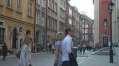 Old Town in Warsaw, Poland Stock Footage