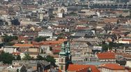 HD Aerial View of Budapest, Synagogue, Danube River, Passing Ships, Boats Stock Footage