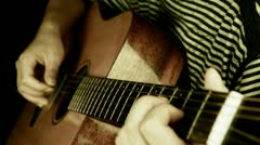 Playing guitar,strum,retro style. Stock Footage