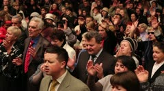 People celebrate in the church - stock footage