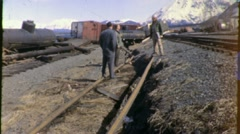 Derailed Trains Alaska Earthquake Circa 1964 (Vintage Archival 16mm Film) 1578 - stock footage