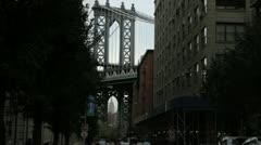 The Empire State Building through the arches of the George Washington Bridge Stock Footage