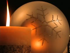 Candle and Snowflake Ornament Stock Footage