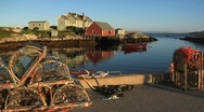 Stock Video Footage of Peggy's Cove Harbour and Lobster Traps- Nova Scotia, Canada