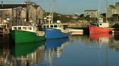 Peggy's Cove Harbour and Fishing Boats Stock Footage