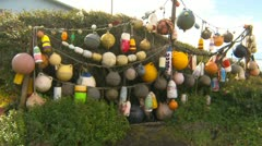 A collection of fishing floats to ocean pan, fisherman's lifestyle Stock Footage
