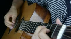 Playing guitar,strum. Stock Footage