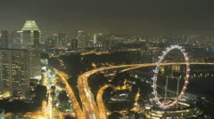 Singapore city, freeway, and Flyer and night time lapse Stock Footage