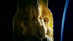 Orient buddha statue,Smoke Soot filled burning incense. Stock Footage
