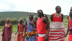 Masai Warriors Dancing Up Close  (HD) Stock Footage