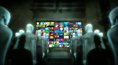 Android people watching video screen Stock Footage