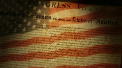 Declaration Of Independence, USA Flag - stock footage