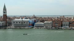 Time Lapse of Venice, Italy Aerial View of Grand Canal, San Marco Tower - stock footage