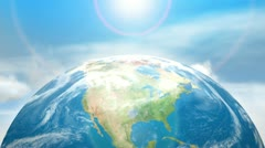 earth world globe and blue sky, clouds & sun - stock footage