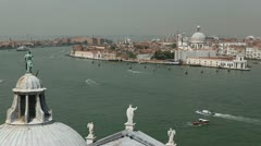 Venice, Italy Aerial View of Grand Canal, Santa Maria della Salute - stock footage