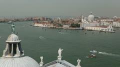Venice, Italy Aerial View of Grand Canal, Santa Maria della Salute Stock Footage