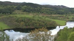 Queens view over Loch in Scotland Stock Footage