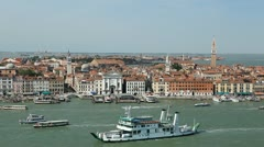 Venice, Italy Aerial View of Grand Canal, San Marco Tower, Square, Bridges - stock footage