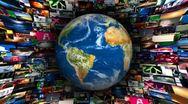 Earth Globe Video Wall Vortex Stock Footage
