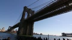 0004 Brooklyn Bridge Slow Motion Stock Footage