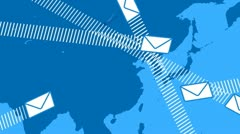 Email envelopes flying around the world Stock Footage