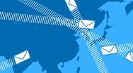Stock Video Footage of email envelopes flying around the world