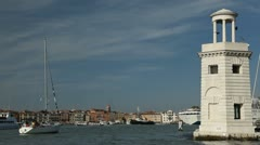 San Marco Square, Campanile, Palazzo Ducale, Cruise Ship, Sail Boat, Ferry Stock Footage
