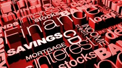 Financial words 3d animation Stock Footage