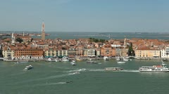 Venice, Italy Aerial View of Grand Canal, San Marco Tower, Square, Bridges Stock Footage