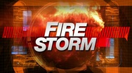 Stock Video Footage of fire storm - broadcast title tv graphic