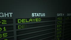 Flight information board - delayed Stock Footage