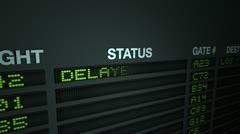 All Flights Delayed, Flight Information Board Stock Footage