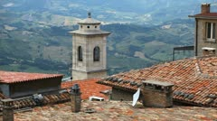 HD Aerial View of San Marino, Beautiful Landscape, Old House Roof and Horns Stock Footage
