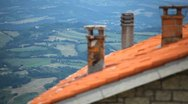 Stock Video Footage of HD Aerial View of San Marino, Beautiful Landscape, Old House Roof and Horns