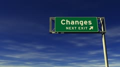Changes freeway exit sign Stock Footage