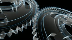 Gears Turning - Wireframe X-ray Stock Footage