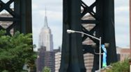 0019 NYC Empire State Building from Brooklyn - Rack Focus Stock Footage