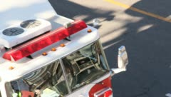Fire Engine on his way to a fire Stock Footage